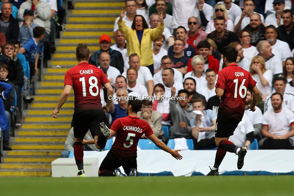 u22.05.2016. Etihad Stadium, Manchester, England. International football friendly match, England versus Turkey. Calhanoglu of Turkey celebrates his equalising goal.