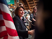 02 JANUARY 2020 - JOHNSTON, IOWA: US Senator AMY KLOBUCHAR (D-MN) greets a supporter during her campaign event in the Simpson Barn, an event space in Johnston, a suburb of Des Moines. More than 500 people attended the event, the largest crowd to attend a Klobuchar event so far. Sen. Klobuchar is campaigning to be the Democratic nominee for the US Presidency. Iowa holds the first selection event of the Presidential election cycle. The Iowa caucuses are Feb. 3, 2020.        PHOTO BY JACK KURTZ