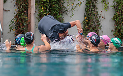 23.06.2017, Hotel Forsthofgut, Leogang, AUT, OeSV, Schwimmtraining Damen Speed Team, im Bild Andreas Hochwimmer (Konditionstrainer) wird von den Damen ins Becken gezogen // during a swimmtraining of the Austrian Ladies Speed Team at the Hotel Forsthofgut, Leogang, Austria on 2017/06/23. EXPA Pictures © 2017, PhotoCredit: EXPA/ JFK