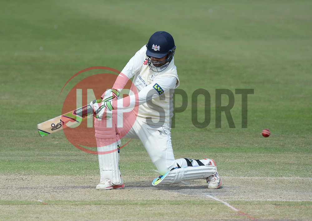 Kieran Noema-Barnett of Gloucestershire hits the ball for a 4. - Photo mandatory by-line: Alex James/JMP - Mobile: 07966 386802 - 17/07/2015 - SPORT - Cricket - Cheltenham - Cheltenham College - Gloucestershire v Leicestershire - LV=County Championship Division 2
