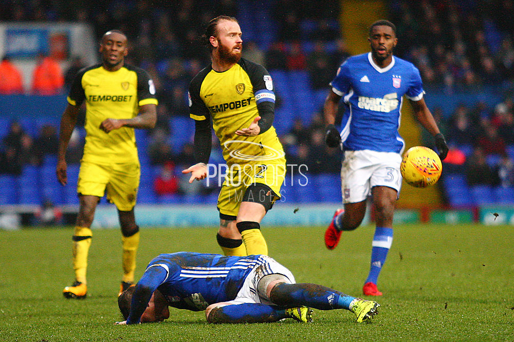 Burton Albion's John Brayford reacts to giving away a free kick during the EFL Sky Bet Championship match between Ipswich Town and Burton Albion at Portman Road, Ipswich, England on 10 February 2018. Picture by John Potts.