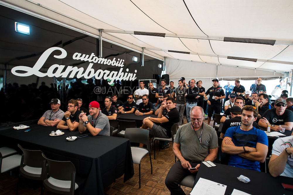 September 30- October 2, 2015: Lamborghini Super Trofeo, Road Atlanta. Super Trofeo pre-race driver's meeting