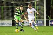 Forest Green Rovers Jordan Stevens(35) and Swansea City's Adam King challenge for the ball during the EFL Trophy match between Forest Green Rovers and U21 Swansea City at the New Lawn, Forest Green, United Kingdom on 31 October 2017. Photo by Shane Healey.
