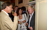 Trevor Grove, Valerie Grove and Boris Johnson. Spectator party. Doughty St. London. 28 July 2005. ONE TIME USE ONLY - DO NOT ARCHIVE  © Copyright Photograph by Dafydd Jones 66 Stockwell Park Rd. London SW9 0DA Tel 020 7733 0108 www.dafjones.com