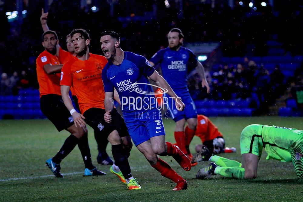 Peterborough United defender Andrew Hughes (3) thinks he's scored an equaliser but he is ruled offside during the EFL Sky Bet League 1 match between Peterborough United and Southend United at London Road, Peterborough, England on 3 February 2018. Picture by Nigel Cole.