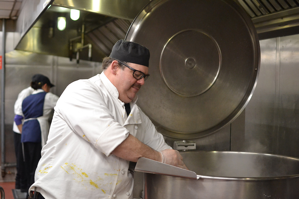 16/4/4 – Medford/Somerville, MA –Paul Ruldoph, the lead second chef with Tufts Dining, poses for Tufts Daily on April. 4, 2016. (Ziqing Xiong / The Tufts Daily)