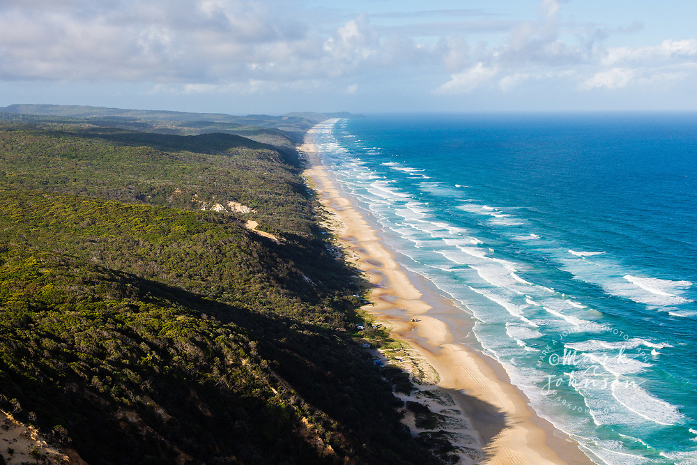 Aerial photograph of Great Sandy National Park, Double Island Pt in the background, Sunshine Coast, Queensland, Australia