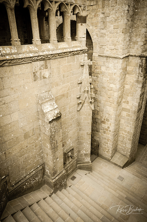 Abbey stairs, Mont Saint-Michel monastery, Normandy, France