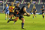 Duhan Dan Der Merwe scores try during the Guinness Pro 14 2018_19 match between Edinburgh Rugby and Dragons Rugby at Murrayfield Stadium, Edinburgh, Scotland on 15 February 2019.