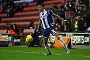 Wigan Defender Reece James during during the Sky Bet League 1 match between Wigan Athletic and Blackpool at the DW Stadium, Wigan, England on 12 December 2015. Photo by Pete Burns.