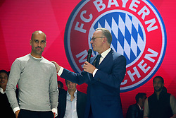 23.05.2015, Postpalast, Muenchen, GER, 1. FBL, FC Bayern Muenchen, Meisterfeier, im Bild Karl-Heinz Rummenigge the CEO of Bayern Muenchen talks to head coach Josep Guardiola (L) // during the German Bundesliga championship party of FC Bayern Munich at the Postpalast in Muenchen, Germany on 2015/05/23. EXPA Pictures © 2015, PhotoCredit: EXPA/ Eibner-Pressefoto/ FCB/POOL<br /> <br /> *****ATTENTION - OUT of GER*****