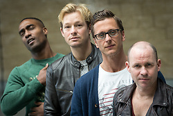 "© Licensed to London News Pictures . 14/04/2014 . Phones 4U Arena , Manchester , UK . L-R Simon Webbe from Blue , Adam Rickitt , Ritchie Neville from Five and Simon "" Spike "" Dawbarn from 911 . Photocall for former boyband stars as part of a reunion tour launch . Photo credit : Joel Goodman/LNP"
