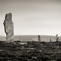 A grouping of 9 stones at the Ring of Brodgar standing stone circle on the Orkney Islands.