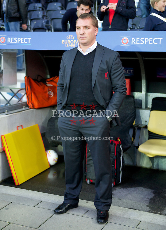 BERNE, SWITZERLAND - Thursday, September 20, 2012: Liverpool's manager Brendan Rodgers before the UEFA Europa League Group A match against BSC Young Boys at the Wankdorf Stadion. (Pic by David Rawcliffe/Propaganda)