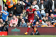 Liverpool striker Danny Ings (28) during the Premier League match between Liverpool and Stoke City at Anfield, Liverpool, England on 28 April 2018. Picture by Craig Galloway.