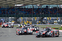 Marcel Fassler (CHE) / Andre Lotterer (DEU) / Benoit Treluyer (FRA) #7 Audi Sport Team Joest Audi R18 e-tron quattro, during opening laps of the race as part of the WEC 6 Hours of Silverstone 2016 at Silverstone, Towcester, Northamptonshire, United Kingdom. April 17 2016. World Copyright Peter Taylor.
