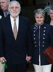 Dave Lee Travis and his wife Marianne Griffin leaving Southwark Crown Court in London after the jury failed to reach a verdict,  Monday, 10th February 2014. Picture by Stephen Lock / i-Images