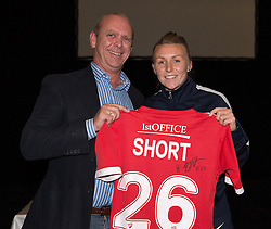 Bristol Academy's Hannah Short presents a signed shirt to her sponsor Andrew Jones of 1st Office  - Photo mandatory by-line: Paul Knight/JMP - Mobile: 07966 386802 - 11/10/2015 - Sport - Football - Bristol - Stoke Gifford Stadium - Bristol Academy WFC End of Season Awards 2015