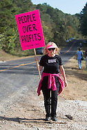 October 15th Winnsboro Texas, A member of Code Pink joins a group of envirnemntal activists in the Tar Sands Blockade hold their largest direct action protest to date, shutting down construction on one of  TransCanada's Keystone Pipeline worksites.