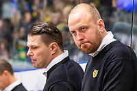 2019-12-02 | Umeå, Sweden: Mora Head Coach Jeff Jakobs and Mora Assistant Coach Daniel Grillfors in HockeyAllsvenskan during the game  between Björklöven and Mora at A3 Arena ( Photo by: Michael Lundström | Swe Press Photo )<br /> <br /> Keywords: Umeå, Hockey, HockeyAllsvenskan, A3 Arena, Björklöven, Mora, mlbm191202