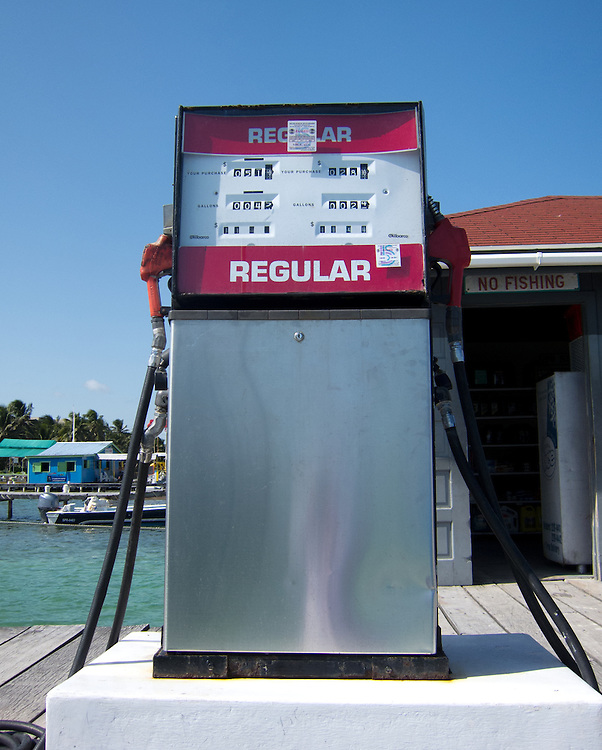 San Pedro, Belize 8/31/2012.Gas on the island is $11/gallon in Belize dollars, or $5.50 US..Alex Jones / www.alexjonesphoto.com
