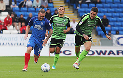 Jack Marriott of Peterborough United gets away from Sonny Bradley of Plymouth Argyle - Mandatory by-line: Joe Dent/JMP - 05/08/2017 - FOOTBALL - ABAX Stadium - Peterborough, England - Peterborough United v Plymouth Argyle - Sky Bet League One