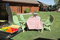 Dining table and chairs with barbecue grill on lawn in front of country house