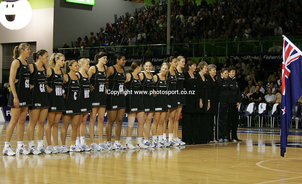 Silver Ferns line up before the netball test match between New Zealand and Australia at Waitakere Stadium, Auckland, New Zealand on Saturday 29 October, 2005. New Zealand won the match 61-36. Photo: Hannah Johnston/PHOTOSPORT<br />