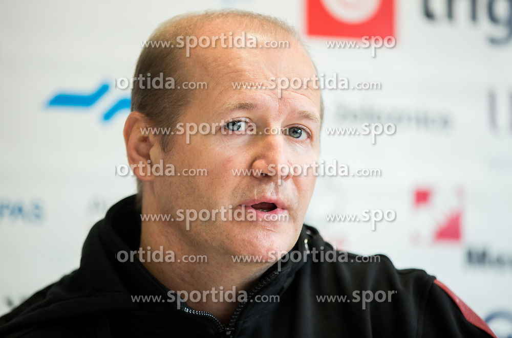 Nik Zupancic, head coach during press conference of Slovenian National Ice Hockey Team at the beginning of the Training Camp for IIHF World Championship Division I in Katowice (Poland), on April 4, 2016 in Arena Podmezakla, Jesenice, Slovenia. Photo by Vid Ponikvar / Sportida