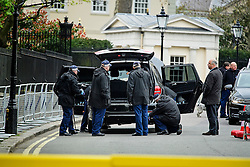 © London News Pictures. 22/04/2016. London, UK. A car being searched by police as it enters the secure area. . Heightened security surrounding the residence of the US Ambassador to the United Kingdom in Regents Park, London, where the President of the United States Barak Obama is staying during his visit to the UK. Photo credit: Ben Cawthra/LNP