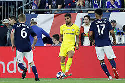 May 15, 2019 - Foxborough, MA, U.S. - FOXBOROUGH, MA - MAY 15: Chelsea FC defender Emerson (33) watched by New England Revolution midfielder Scott Caldwell (6) and New England Revolution forward Juan Agudelo (17) during the Final Whistle on Hate match between the New England Revolution and Chelsea Football Club on May 15, 2019, at Gillette Stadium in Foxborough, Massachusetts. (Photo by Fred Kfoury III/Icon Sportswire) (Credit Image: © Fred Kfoury Iii/Icon SMI via ZUMA Press)