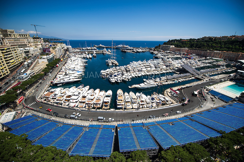 May 20-24, 2015: Monaco Grand Prix - Wide view of the Monaco harbor and track.