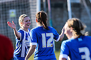 Kirstie Barton (left) congratulates goalscorer Megan Fox during the FA Women's Sussex Challenge Cup semi-final match between Brighton Ladies and Hassocks Ladies FC at Culver Road, Lancing, United Kingdom on 15 February 2015. Photo by Geoff Penn.