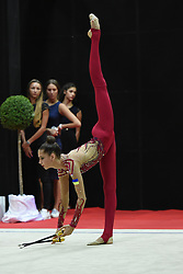 July 28, 2018 - Chieti, Abruzzo, Italy - Rhythmic gymnast Vlada Nikolchenko of Ukraine performs her clubs routine during the Rhythmic Gymnastics pre World Championship Italy-Ukraine-Germany at Palatricalle on 29th of July 2018 in Chieti Italy. (Credit Image: © Franco Romano/NurPhoto via ZUMA Press)