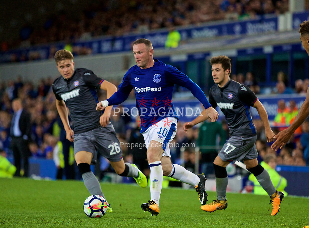 LIVERPOOL, ENGLAND - Thursday, August 17, 2017: Everton's Wayne Rooney during the UEFA Europa League Play-Off 1st Leg match between Everton and HNK Hajduk Split at Goodison Park. (Pic by David Rawcliffe/Propaganda)