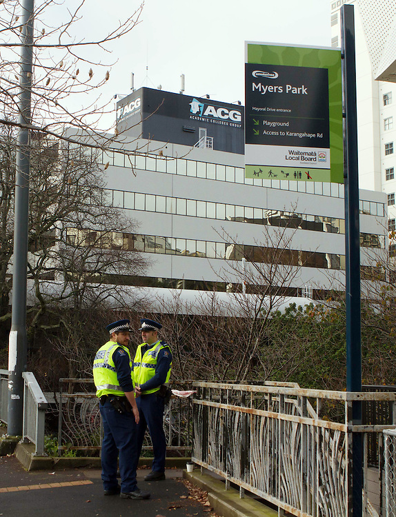 Police continue a scene examination after the police shooting of Slovakian David Cerven in Myers Park on Sunday night, Auckland, New Zealand, Monday, August 03, 2015. Credit:SNPA / Sam Sword