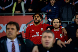 CARDIFF, WALES - Tuesday, November 14, 2017: Wales substitutes Ashley Williams and Joe Allen before the international friendly match between Wales and Panama at the Cardiff City Stadium. (Pic by David Rawcliffe/Propaganda)