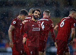 WOLVERHAMPTON, ENGLAND - Friday, December 21, 2018: Liverpool's Mohamed Salah celebrates scoring the first goal with team-mates during the FA Premier League match between Wolverhampton Wanderers FC and Liverpool FC at Molineux Stadium. (Pic by David Rawcliffe/Propaganda)