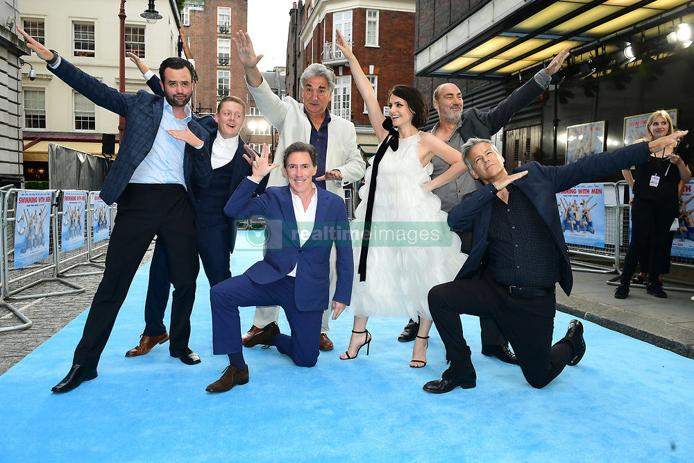 (left to right) Daniel Mays, Thomas Turgoose Jim Carter, Rob Brydon, Charlotte Riley, Oliver Parker and Rupert Graves attending the Swimming with Men premiere held at Curzon Mayfair, London.