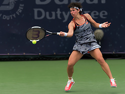 February 19, 2019 - Dubai, ARAB EMIRATES - Carla Suarez Navarro of Spain in action during her second-round match at the 2019 Dubai Duty Free Tennis Championships WTA Premier 5 tennis tournament (Credit Image: © AFP7 via ZUMA Wire)