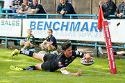 Bradford Bulls second row James Bentley (20) breaks free to score the third try during the Kingstone Press Championship match between Oldham RLFC and Bradford Bulls at Bower Fold, Oldham, United Kingdom on 13 August 2017. Photo by Simon Davies.