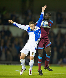 BRISTOL, ENGLAND - Tuesday, September 28, 2010: Tranmere Rovers' Arnaund Mendy and Bristol Rovers' Will Hoskins during the Football League One match at the Memorial Ground. (Photo by David Rawcliffe/Propaganda)