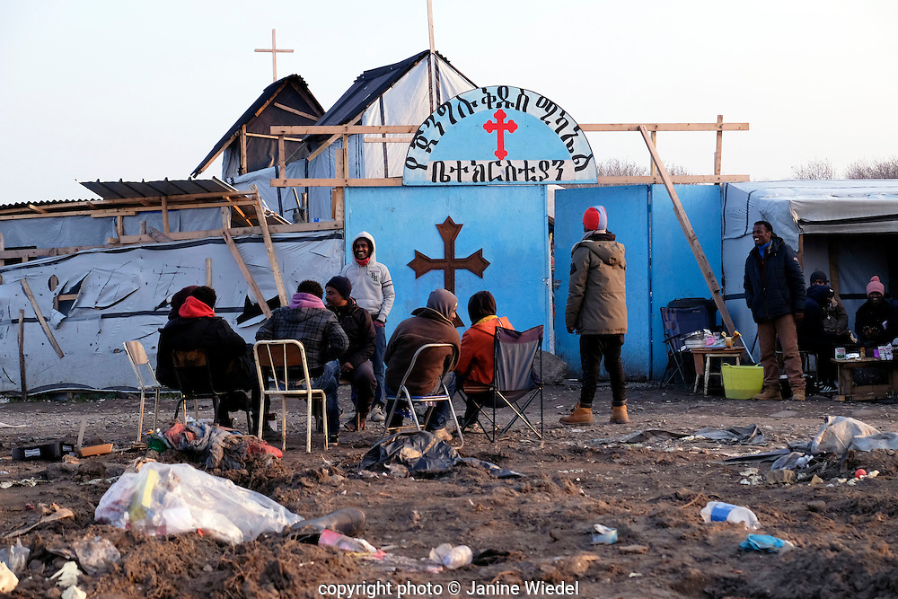 Ethiopian Orthodox Church build in the Calais Jungle where over 4000 refuggees and migrants are camped