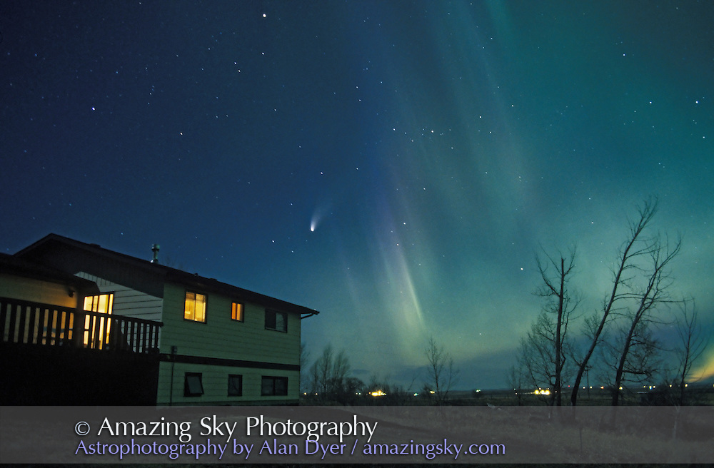 Aurora and Comet Hale-Bopp, April 16, 1997<br /> <br /> from home in Alberta<br /> 28mm lens, about 60s exposure, Fuji Provia 400 slide film<br /> Moonlight also illuminating landscape