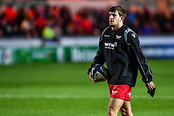Scarlets' Dan Jones during the pre match warm up<br /> <br /> Photographer Craig Thomas/Replay Images<br /> <br /> European Rugby Champions Cup Round 5 - Scarlets v Toulon - Saturday 20th January 2018 - Parc Y Scarlets - Llanelli<br /> <br /> World Copyright © Replay Images . All rights reserved. info@replayimages.co.uk - http://replayimages.co.uk