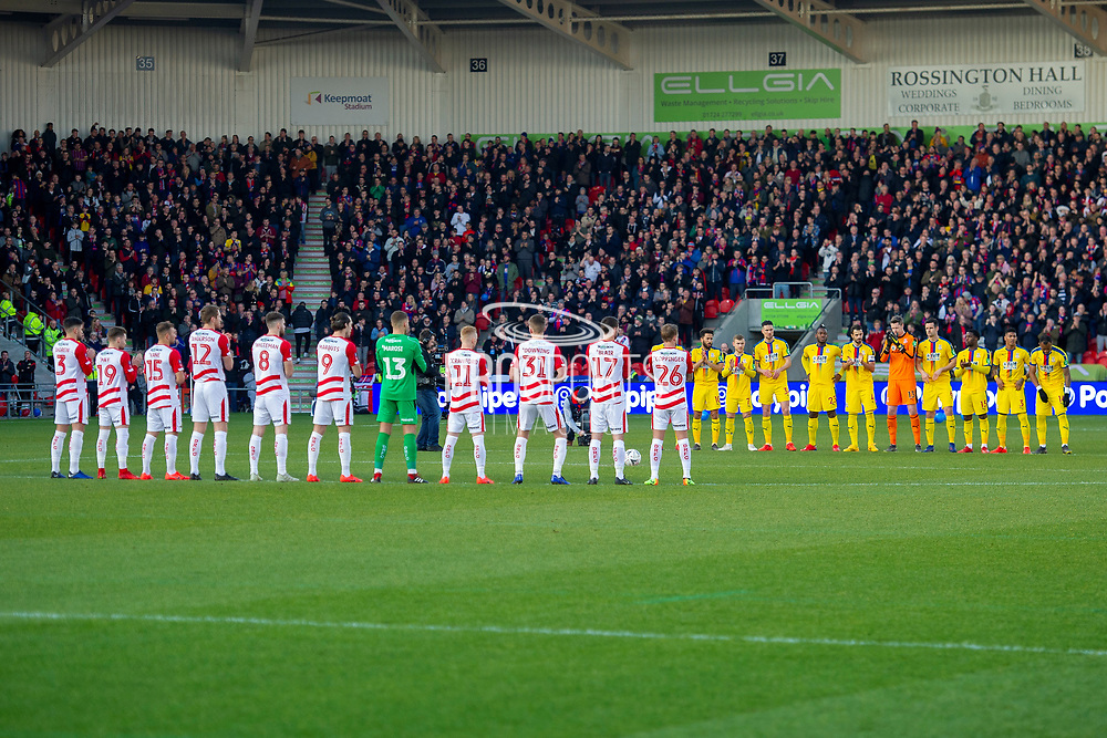 Doncaster Rovers & Crystal Palace hold a minutes applause in memory of Gordon Banks OBE during the The FA Cup 5th round match between Doncaster Rovers and Crystal Palace at the Keepmoat Stadium, Doncaster, England on 17 February 2019.