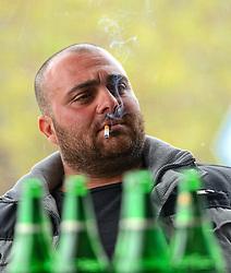 29-11-2014 CYP: We Bike 2 Change Diabetes Cyprus 2014, Agros<br /> Vandaag de eerste etappe (55 km) van Limassol naar Agros, Een dag dat vanaf zeeniveau het Troodosgebergte ingaat met 1750 hoogtemeters / Restaurant eigenaar, roken, bier, drinken