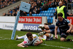 Exeter Chiefs' Ollie Devoto scores a try against Sale Sharks during the Gallagher Premiership match at the AJ Bell Stadium, Salford.