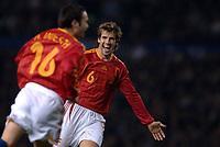 Photo: Paul Greenwood.<br />England v Spain. International Friendly. 07/02/2007. Spains David Albelda, right, runs to congratulate scorer Andres Iniesta