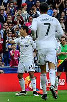 Real Madrid´s Chicharito celebrates a goal during 2014-15 La Liga match between Real Madrid and Eibar at Santiago Bernabeu stadium in Madrid, Spain. April 11, 2015. (ALTERPHOTOS/Luis Fernandez)